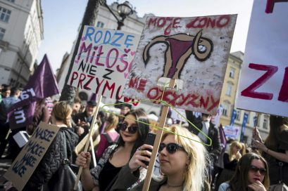 "People demonstrate against the Polish government's plan to tightening the abortion law in Krakow, Poland April 3, 2016. The signs read: ""I'm giving birth from love not from being forced"" and ""My womb does not belong to homeland"" (R). REUTERS/Lukasz Kaminski/Agencja Gazeta  ATTENTION EDITORS - THIS IMAGE HAS BEEN SUPPLIED BY A THIRD PARTY. IT IS DISTRIBUTED EXACTLY AS RECEIVED BY REUTERS, AS A SERVICE TO CLIENTS. POLAND OUT. NO COMMERCIAL SALES IN POLAND. - RTSDEAH"